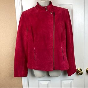 Alfani Red Leather Jacket Size Large